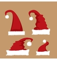 red Santa hat icon set vector image
