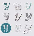 Original letters Y set isolated on light gray vector image