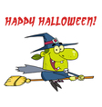 Wicked Halloween Witch Flying With Text vector image vector image