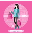 Beautiful woman with a lot of shopping bags vector image vector image