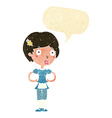 cartoon woman in french maid outfit with speech vector image