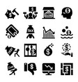 business crisis and business failure icon set vector image