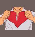 closeup of man hands tearing heart shape on grey vector image