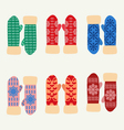 Cute set with mittens Colorful collection vector image