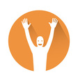 Man with hands in the air vector image