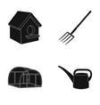 poultry house pitchfork greenhouse watering can vector image