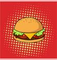 retro delicious hamburger junk food pop art vector image