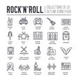 ROCK N ROLL circle outline icons collection set vector image