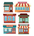 set of shops a collection of small cartoon shops vector image