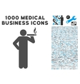 Smoking Man Icon with 1000 Medical Business vector image