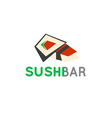 Sushi cafe or sushi bar logo Sushi with fresh tuna vector image