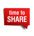 time to share red 3d realistic paper speech bubble vector image