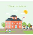 school building and children vector image