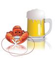 lobster and mug of beer vector image
