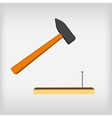 hammer icon with long shadow blow with a hammer vector image