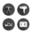 Hotel services icon Wi-fi Hairdryer and safe vector image