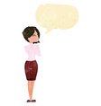 cartoon businesswoman ignoring with speech bubble vector image