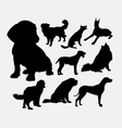 Little and large dog pet animal silhouette vector image