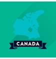 Flat icon with long shadow Canada map vector image