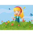 A girl with butterflies at the garden vector image vector image