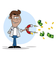 Black Man Collecting Cash With A Money Magnet vector image