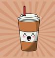 kawaii paper cup soda image vector image