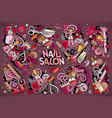 cartoon set of nail salon theme doodles vector image