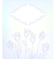 card with hand drawn tulips on light blue vector image vector image