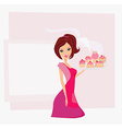 Housewife serving cookies vector image vector image
