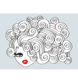nice girl with curly hair and red mouthvector illu vector image