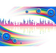 Musical background with a rainbow vector image