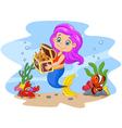 Cartoon funny mermaid holding treasure chest vector image
