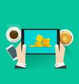 money on tablet flat cartoon vector image