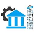 Bank Settings Flat Icon With Bonus vector image