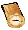 Antique compass and map vector image vector image