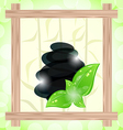 meditative bamboo background with cairn stones and vector image
