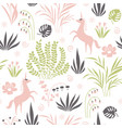 seamless pattern with plants and unicorns vector image