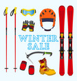winter sale of ski snowboarding equipment stuff in vector image