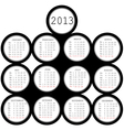 2013 black circles calendar for office vector image