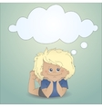 Cartoon boy with a thought bubble vector image vector image
