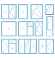 Set of plastic window frame symbol vector image