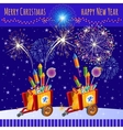 Fireworks in honor of the Christmas and new year vector image