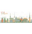 Abstract Tallinn Skyline with Color Buildings vector image