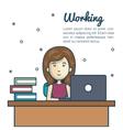 cartoon woman working laptop desk design vector image