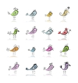Funny birds collection for your design vector image