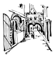 ink sketching of historic narrow cobbled street in vector image