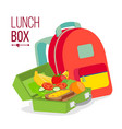 lunch box and bag healthy school lunch vector image