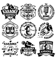 set of Karaoke labels badges vector image