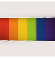 Rainbow stripes under torn paper plates vector image vector image