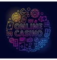 Bright online casino line vector image